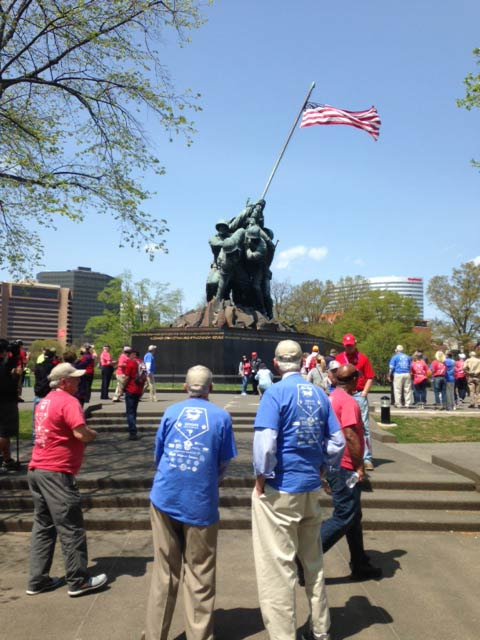 Veterans at the Marine Corps War Memorial on Tuesday. (April 21, 2015/FOX Carolina)